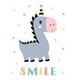 card with cute smile dinosaur isolated on white vector image