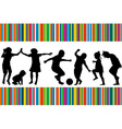 Card with silhouettes of children playing and vector image vector image