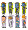 cartoon exterminator with gas mask character set vector image vector image