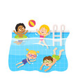 children swimming in pool underwater and play toy vector image
