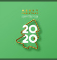 christmas new year 2020 gold 3d pine tree card vector image vector image