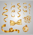 collection of gold ribbons golden confetti vector image vector image