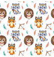 cute boho animals and feathers pattern vector image
