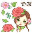 cute girl and flower vector image vector image
