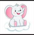 cute grey elephant on cloud children vector image vector image