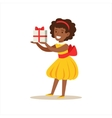 Girl In Yellow Dress Holding A Present Kids vector image vector image