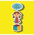 girl kids happy cube icon vector image vector image