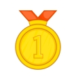 Gold medal for first place icon cartoon style vector image vector image