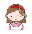 grated happy girl with hairstyle and headband vector image