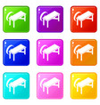 grindstone icons set 9 color collection vector image vector image