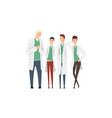 group cheerful male doctors or medical students vector image