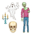 Halloween elements set of color sketch icons vector image