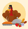 happy thanksgiving day turkey with hat cake vector image vector image