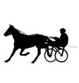 horse and jockey harness racing silhouette vector image vector image