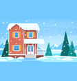 house in winter cottage in snowy landscape vector image vector image