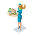 isometry of a stewardess girl with a kind of rest vector image