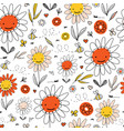 kids doodle flowers and bees seamless vector image vector image