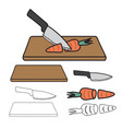 knife cutting carrot on wooden board and outline vector image