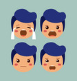 little boys emoticon set kawaii characters vector image
