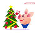 little cartoon pig decorationg christmas tree vector image