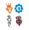 monkey king gear hat logo design template set vector image
