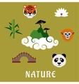 Nature and wildlife China flat icons vector image vector image
