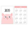 pig piggy face simple pocket calendar layout 2019 vector image
