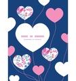 pink flowers heart symbol frame pattern vector image