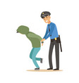 police officer arresting criminal character vector image vector image
