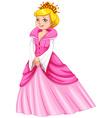 Queen in pink dress vector image vector image