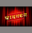 realistic sign winner and congrats vector image
