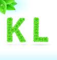 Sans serif font with green leaf decoration vector image vector image