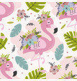 seamless pattern with lovely floral pink flamingo vector image vector image