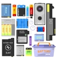 set alkaline battery and accumulator vector image