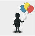silhouette of a boy with balloons vector image vector image