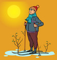 skier man spring in the forest sun vector image vector image