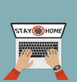 stay home slogan on laptop screen vector image vector image