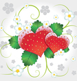 strawberries hearts with swirl vector image vector image