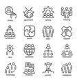 team work line art icon set business group symbol vector image