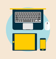 Top view of Electronic Devices laptop tablet and vector image