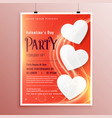 valentines day party event flyer with light vector image