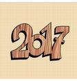 Wooden figure 2017 new year vector image vector image