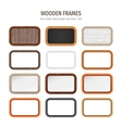 Wooden Rounded Rectangle Banners Set vector image