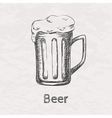 hand drawn sketch of beer mug vector image