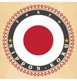 Vintage label cards of Japan flag vector image