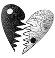 Black and white broken heart drawn Zentangle style vector image