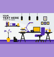 flat design banner of work place vector image