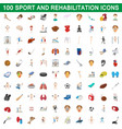100 sport and rehabilitation set cartoon style vector image vector image