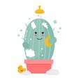 cute cactus taking shower