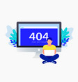404 error concept man are sitting near laptop vector image